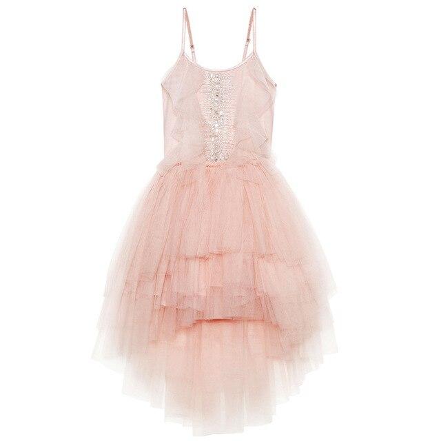 فستان بناتي مطرز بالدانتيل ومكشكش للكريسماس مصنوع يدويًا للأطفال فساتين منتفخة بالترتر لحفلات الأميرات ملابس للفتيات CA968