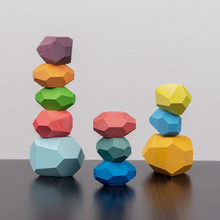 Building-Block Toys Stacking-Game Educational-Toys Present Colored-Stone Wooden Baby