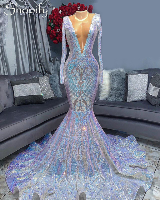Sexy Long Prom Dresses 2021 Sheer O-neck Long Sleeve Sparkly Sequin Mermaid African Black Girls Sequin Gala Prom Dress 2