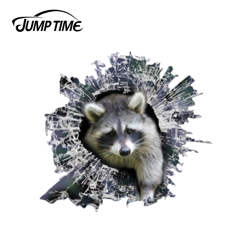 Jump Time 13cm X 12.2cm 3D Raccoon Window Sticker Glass Slag Decal Reflective Stickers Waterproof Decals