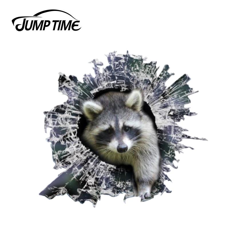 Jump Time 13cm X 12.2cm 3D Raccoon Window Sticker Glass Slag Decal Reflective Stickers Waterproof Decals