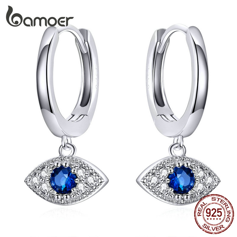 bamoer Silver 925 Jewelry Blue Eye Drop Earrings for Women Wedding Statement Protection Fashion Jewelry Bijoux Oreilles BSE274