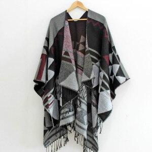 Image 4 - RANAWEELA Women Geometric Printed Shawl With Tassel Open Front Poncho Cape Cardigan Wrap Shawl For Winter Pashmina Ruana Female