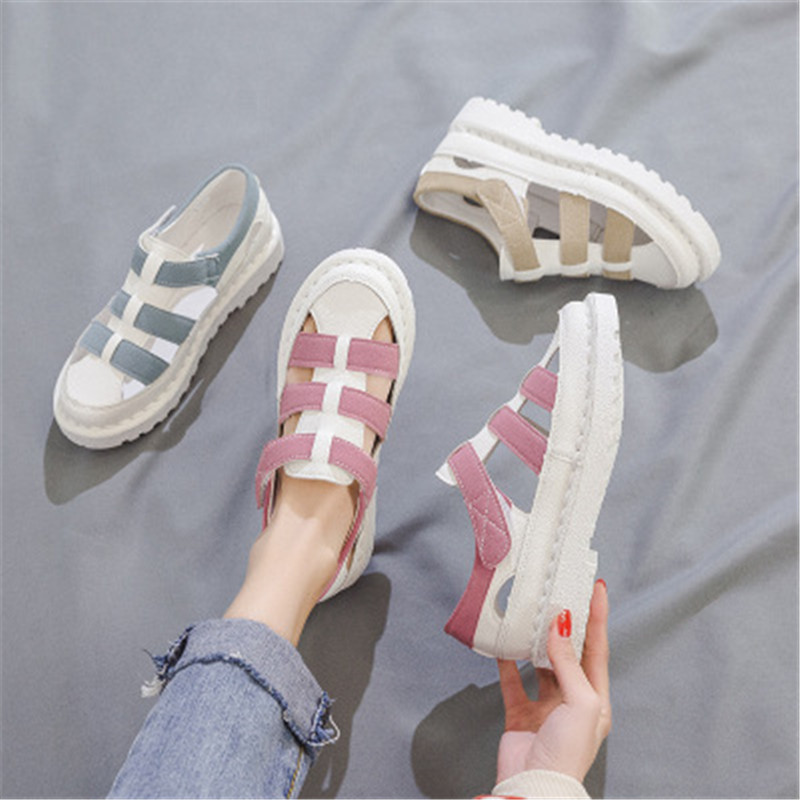 2021 New Women's Hollow Shoes Fashion Summer Sandals Flat Bottom Rome Sandals College Wind White Blue Pink Size 35 40 Middle Heels  - AliExpress