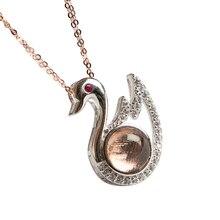 Genuine Natural Gibeon Iron Meteorite Moldavite Women Men Swan Rose Gold Pendant 21x16mm Gemstone  Jewelry AAAAA