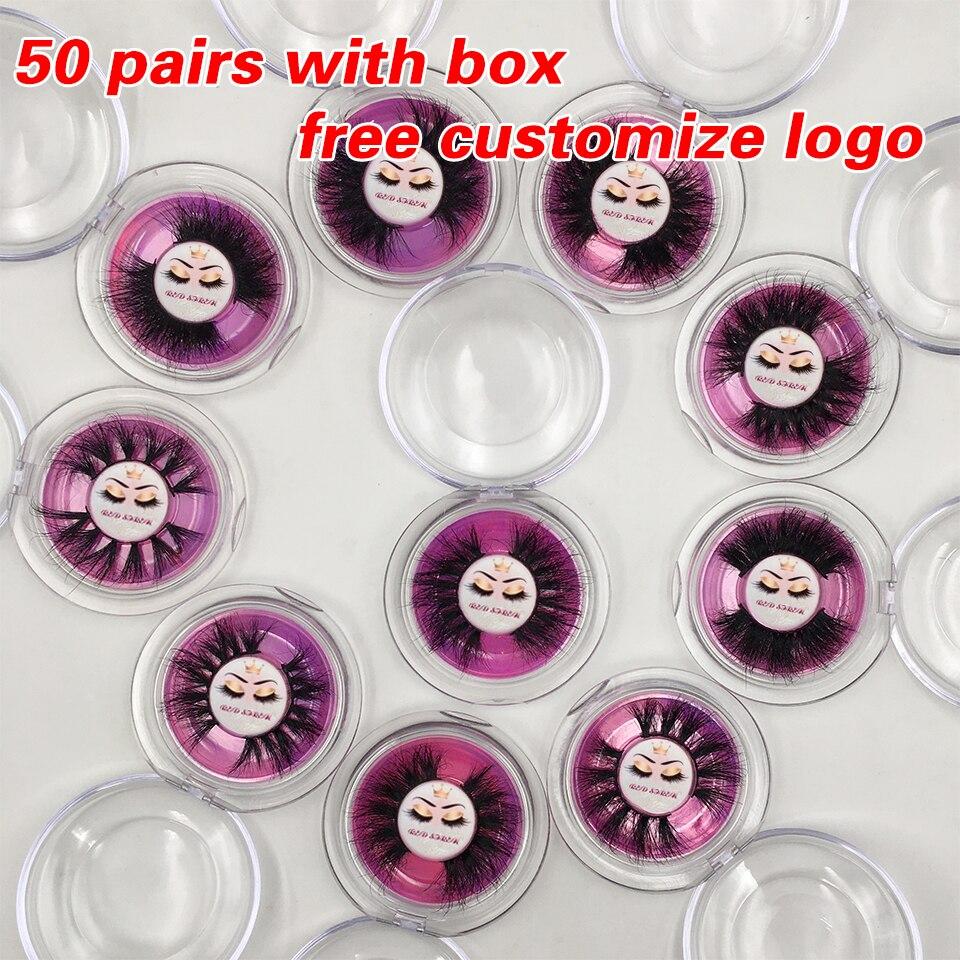 50 Pairs Fluffy Messy Mink Eyelashes 25mm 3D Mink Lashes Dramatic Long Fake Eyelashes Wholesale Makeup Lashes Free Custom Logo