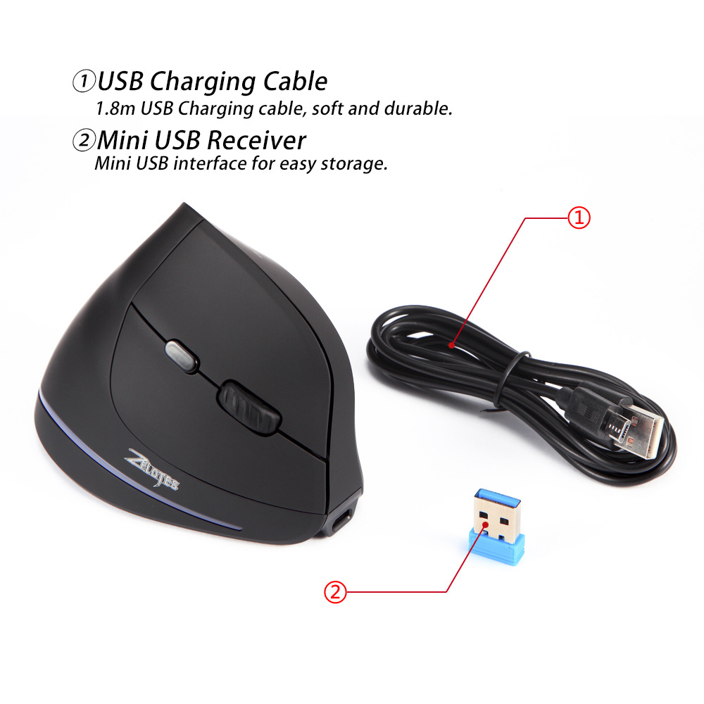 Image 5 - Wireless Mouse Vertical Mouse Ergonomic Optical 2400 DPI 6 Buttons ergonomic Mause for Windows MAC OS for computer laptop-in Mice from Computer & Office