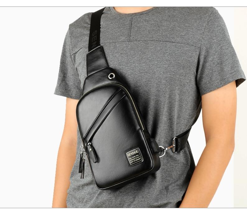 Sendge Men's Bag 2018 New Style One-Shoulder Oblique Chest Pack Multi-functional MEN'S Backpack Fashion Cool Soft Leather Bag Ba