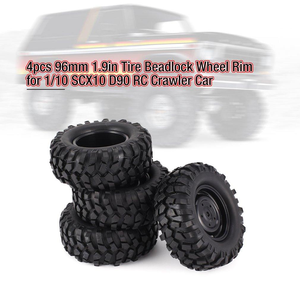 4pcs 96mm Diameter Rubber Tire Tyre 1.9inch Wheel for 1//10 RC Crawler Car