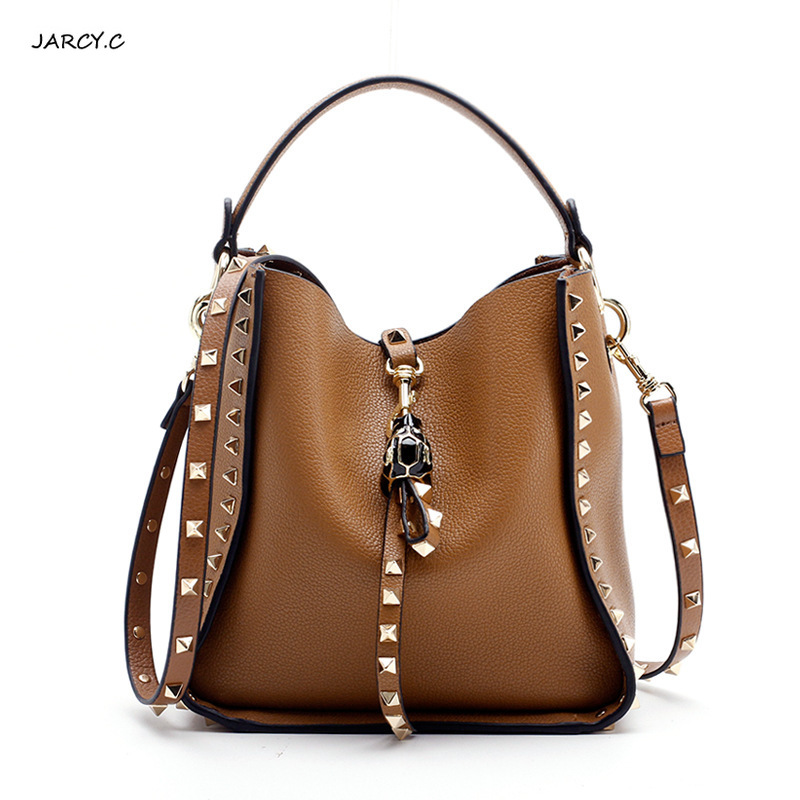 Genuine Leather Famous Brand Rivet Crossbody Bags For Women Messenger Shoulder Bag Luxury Handbags Women Bags Designer Female