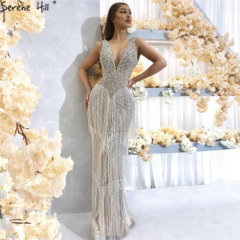 Dubai Design Silver Sexy Deep-V Evening Dress Sequined Beading Tassel Luxury Evening Gowns 2019 Serene Hill LA6674