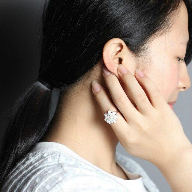 Фото женские открытые кольца в виде цветка лотоса серебро 925 пробы цена