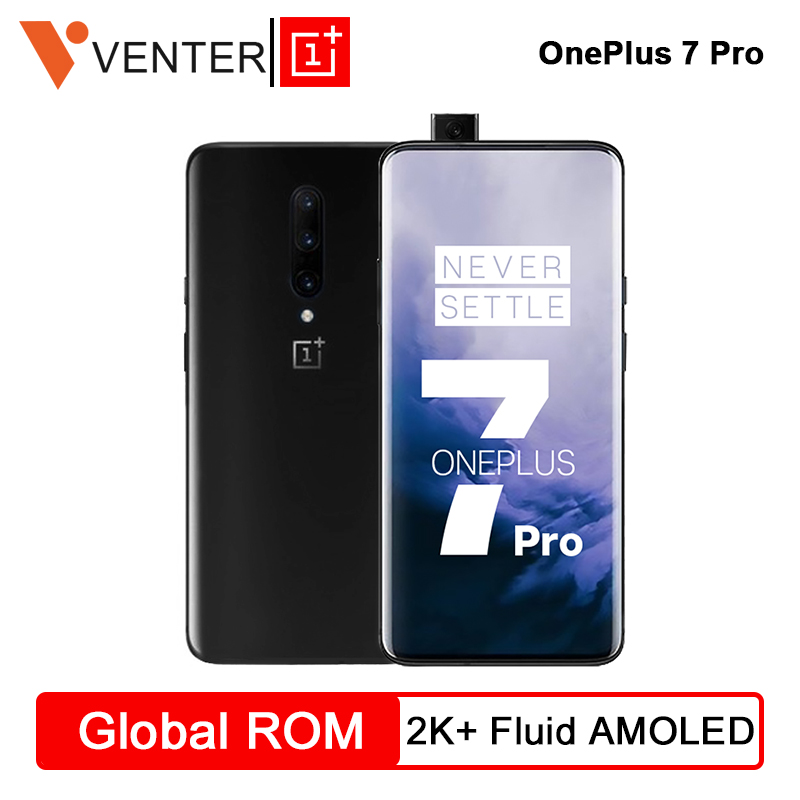 Global Original OnePlus 7 Pro 8 Rom GB 256GB Snapdragon 855 Smartphones 48MP Traseiro Triplo Cams 6.67 ''Polegada tela AMOLED 2K + Fluido