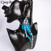 Cpop Boho Ethnic Nature Feather Earring Small Chic Statement Fashion Jewelry Accessories Wholesale Hot Sale Gift