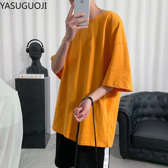 YASUGUOJI Plain Oversized T Shirt Men Bodybuilding and Fitness Loose Casual Lifestyle Wear T-shirt Male Streetwear Hip-Hop Tops 4