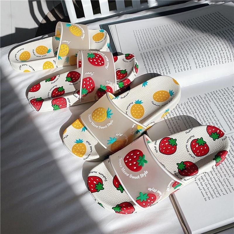 Summer Slippers Women Slides Kawaii Shoes Cartoon Fruit Strawberry Pineapple Peach Girl Flip Flops Slippers Sandals Beach Slides