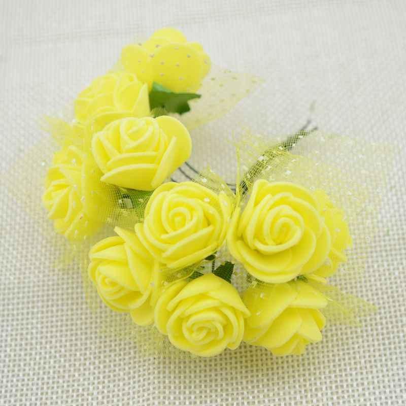 12 قطعة 2 سنتيمتر رغوة صغيرة الورود للمنزل الزفاف ورد صناعي ديكورا سكرابوكينغ wreبها بنفسك إكليل هدية صندوق زهرة اصطناعية رخيصة باقة @ 3