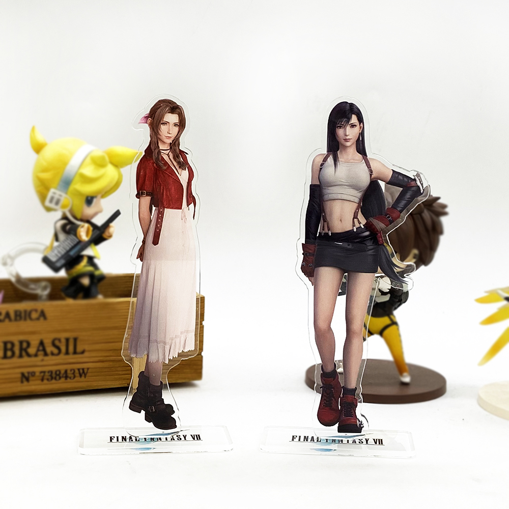 F Fantasy FF7 VII 7 Tifa Lockhart Aerith Gainsborough REMAKE HM Acrylic Stand Figure Model Plate Holder Cake Topper Anime Japan