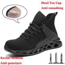 Men Safety Shoes with Metal Toe Indestructible Ryder Shoe Work Boots with Steel Toe Waterproof Breathable Sneakers Work Shoes
