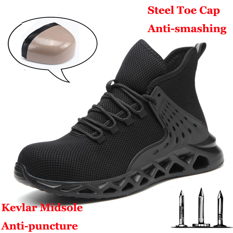 Men Safety Shoes with Metal Toe Indestructible Ryder Shoe Work Boots with Steel Toe Waterproof Breathable Sneakers Work Shoes image