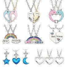 Moda na moda melhores amigos amor mel casal pingente colar arco-íris coração partido para mulher corrente bff amizade jóias