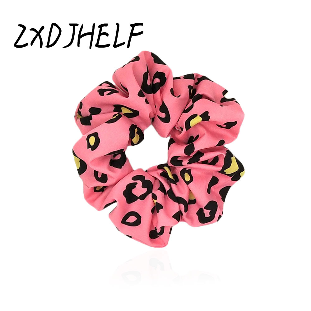 ZXDJHELF Chiffon Hairbands Printed Ponytail Holders Leopard Scrunchies Elastic Hair Bands Soft Charming Women Accessories F511