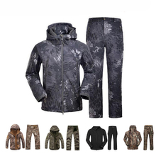 TAD Softshell Jacket Men Camouflage Hunting Clothes Waterproof Jacket and Pants Outdoor Hiking Windbreaker Military Combat Suits men s tad shark softshell jacket outdoor warm hunting clothes sport jacket or pants camouflage military army suits for hiking