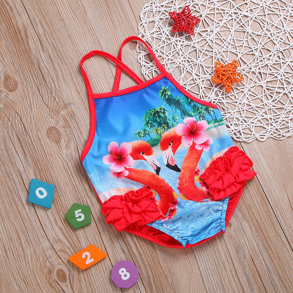 Summer New Style High Quality GIRL'S Swimsuit Camisole Western Style One-piece Hawaii Online Celebrity Flamingo Hot Selling