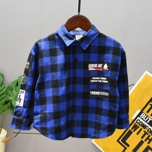 Blouse Shirt Check-Tops Long-Sleeve Plaid Girl Boys Kids Child Casual Unisex 2-7years