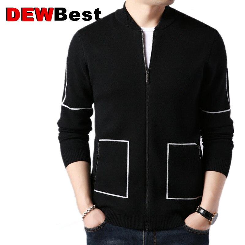 Brand Sweater Coat Men Autumn Winter Thick Warm Wool Cardigan Men Streetwear Fashion Striped Zipper Coats Pockets