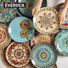 Ceramic Tableware 8.5 Inch Retro Handmade Literary Flower Pattern Round Plate Breakfast Steak Pasta Main Disc Kitchen Supplies