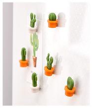6 teile/satz 3D Nette Kaktus Kühlschrank Magnet Lebensechte Kaktus Magnetischen Aufkleber für Kühlschrank Nachricht Bord Magnetische Topfpflanze
