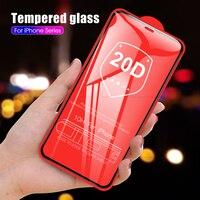20D vidrio Protector completo para iphone 11 2019 vidrio Protector de pantalla templado para iphone X XR XS Max 10 11 Pro Max película frontal