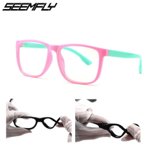 Seemfly New Children Square Anti Blue Light Glasses Frame Boys Girls Computer Game Goggles Eyeglasses Optical Spectacle For Kids
