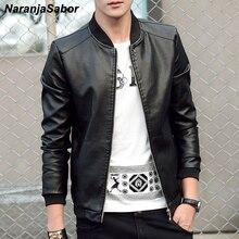 NaranjaSabor 2020 New Men's leather Jacket PU Fashion Spring Autumn Jac