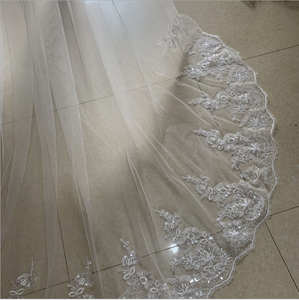 Image 3 - wedding veil White Ivory Cathedral Wedding Veils Long Lace Edge Bridal Veil with Comb Wedding Accessories Bride Veu