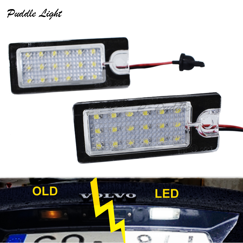 2x 18SMD For Volvo V70 XC70 S60 S80 XC90 LED license plate light Car styling car led light for Volvo 12v Auto parts accessory in Signal Lamp from Automobiles Motorcycles