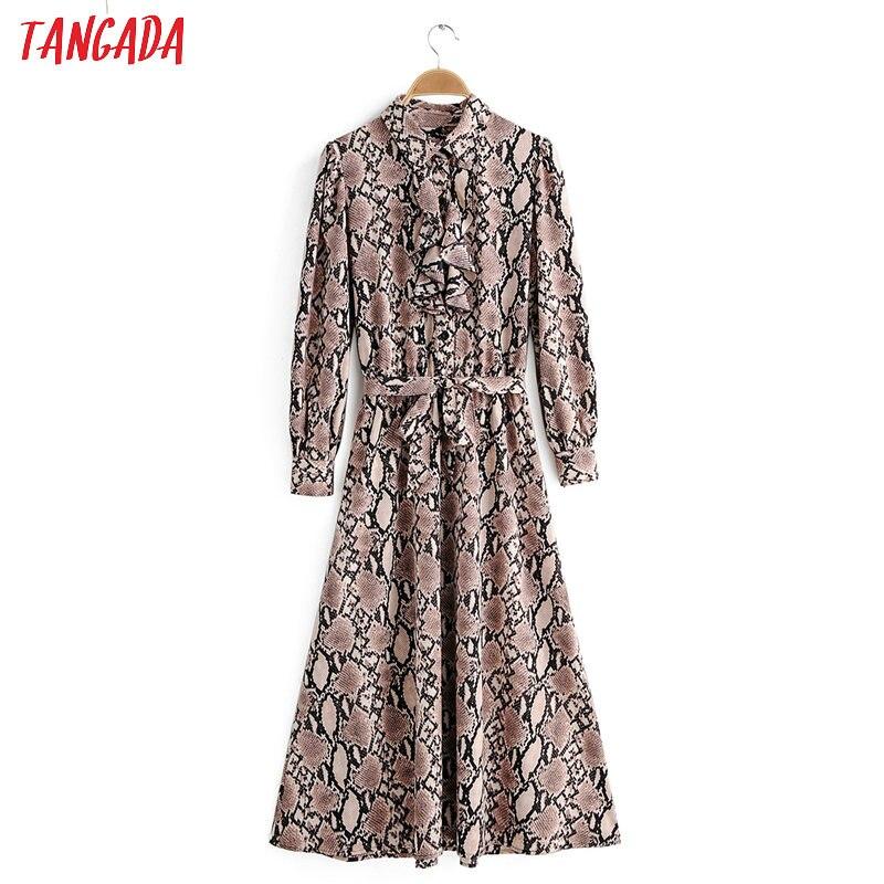 Tangada женское платье с принтом в стиле ретро со змеиным принтом, с оборками, с длинным рукавом, Женская туника, платье миди с эластичной талией...