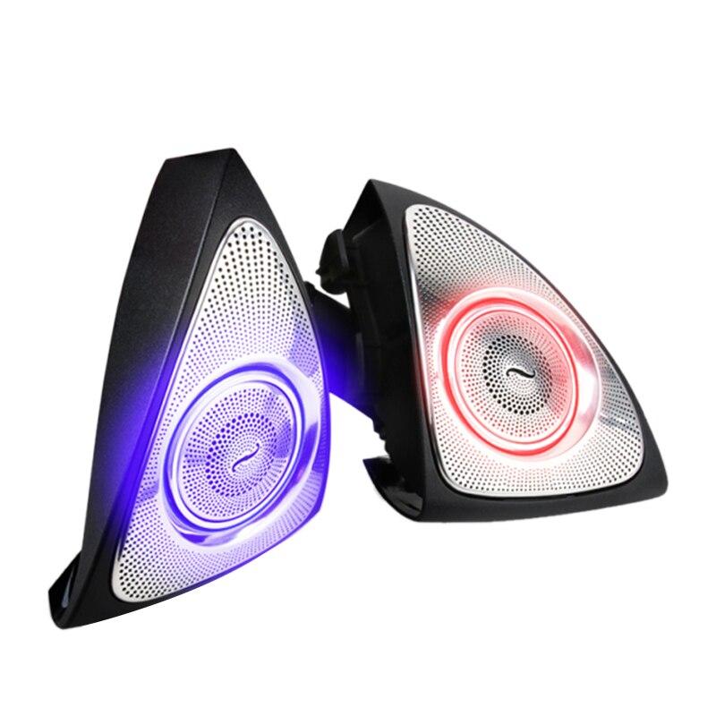 Interior do carro 64 cores led luz ambiente 3d rotativo tweeter orador burmester para mercedes-benz w213 e calss e200l e300l (w213) (3d