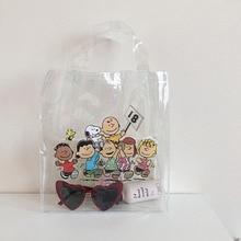 Women Fashion Transparent Bag Bundle Pocket Handbag Beach Shopping Snoopy Cartoon Purse