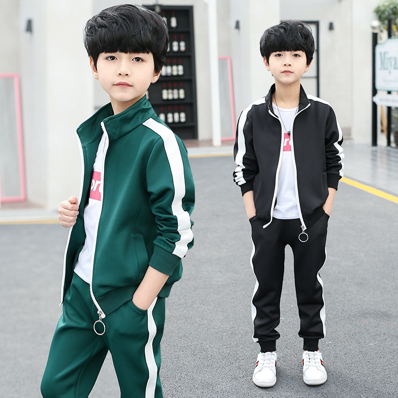 Children's Clothing Autumn New Cotton Korean Fashion Casual Children's Two-piece Children Boy Striped Suit