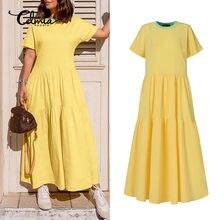 Vestido feminino celmia verão manga curta casual vestidos longos plus size cor retalhos o-pescoço maxi vestido de verão trabalho 5xl robe