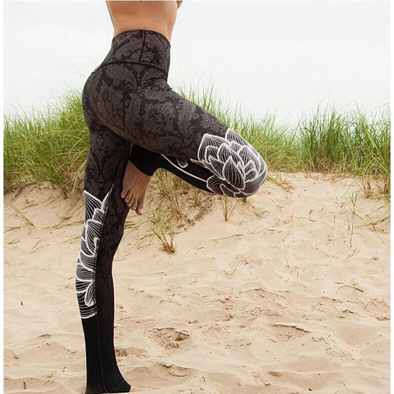 2019 New Flower print Leggings Women High waist Legins Work Out Sporting Slim Purple woven print Trousers Fitness Leggins ZSIIBO 37