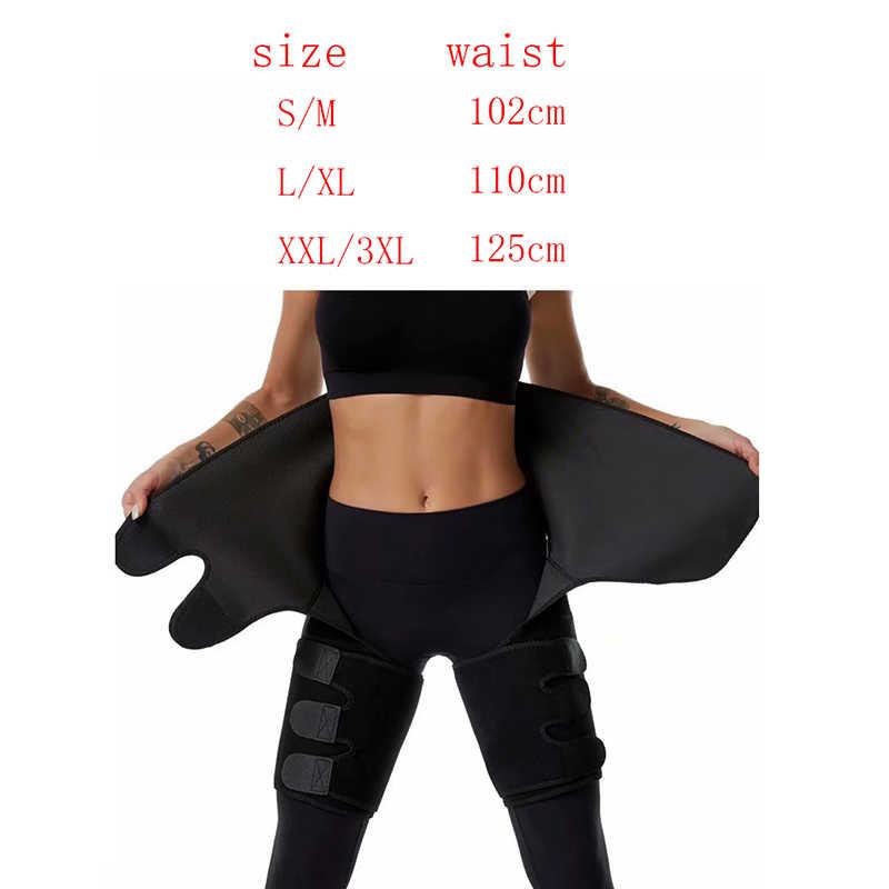 3 In 1 Vrouwen Zweet Slanke Dij Trimmer Been Shapers Push Up Taille Trainer Broek Custom Logo Neopreen Warmte Comprimeren afslanken Riem