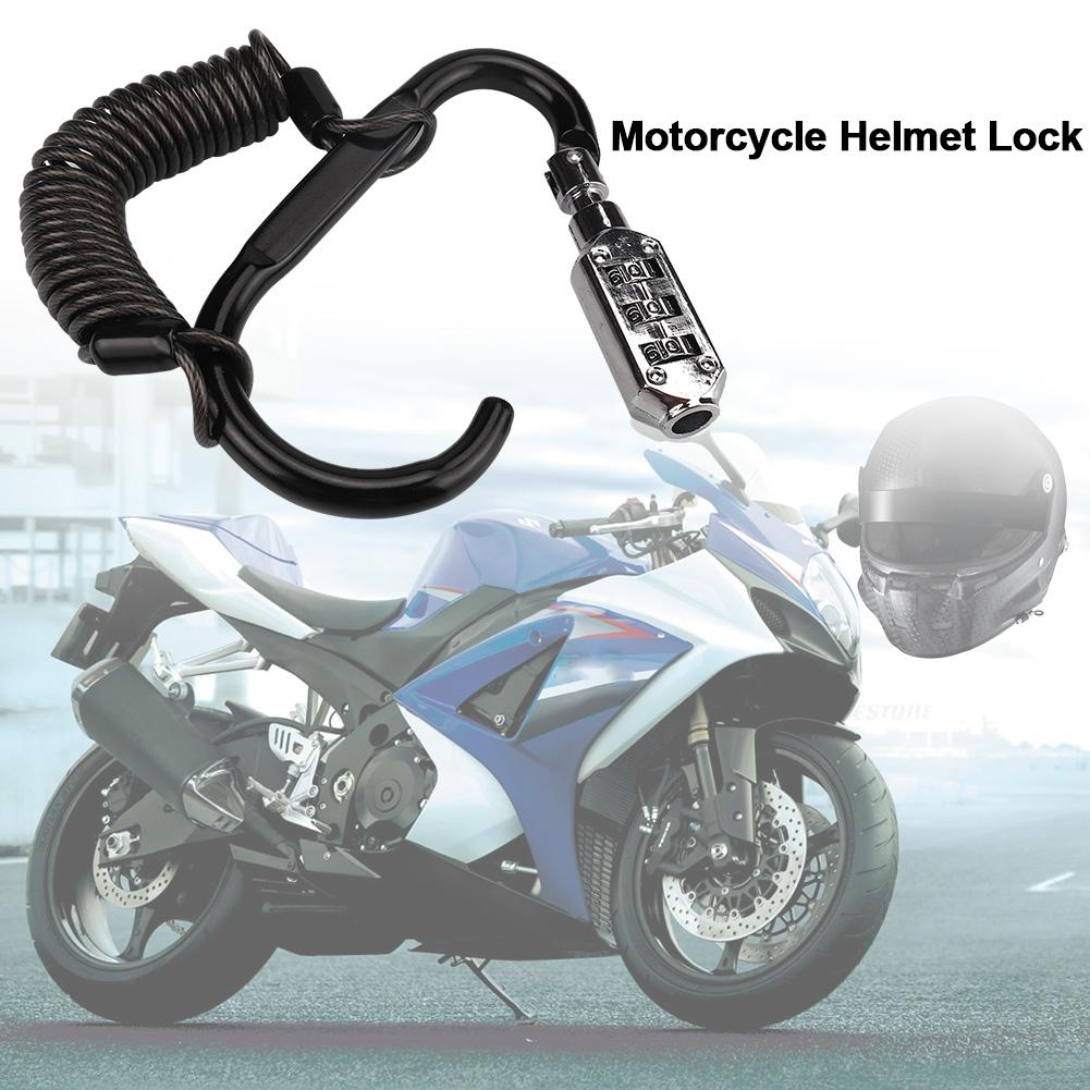 Motorcycle Helmet Lock With Steel Wire Anti-theft Rope Bicycle Mountain Bike Disc Brake Lock Heavy Duty Combination Lock Cable