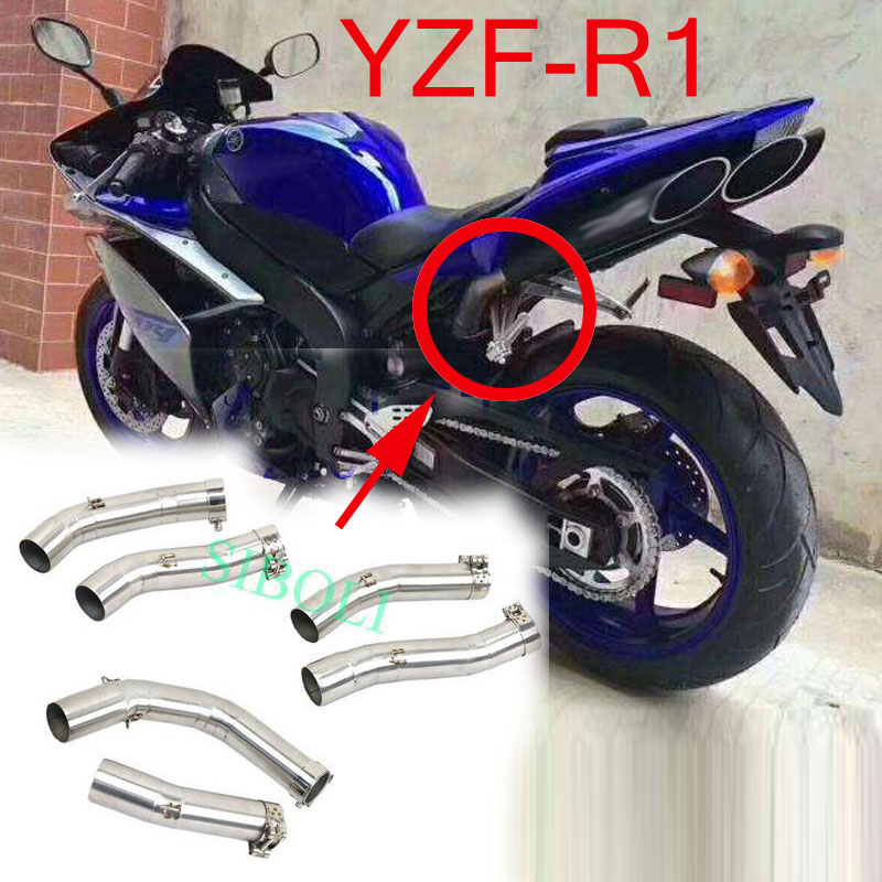 R1 Motorcycle Exhaust Middle Link Modified Pipe YZF-R1 2004 2005 2006 2007 2008 2009 2010 2011 2012 2013 2014 image