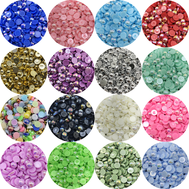 4/6/8/10mm Half Round Pearl Bead Flat Back Scrapbook Beads For Jewelry Making DIY Garment Pearls Beads(China)
