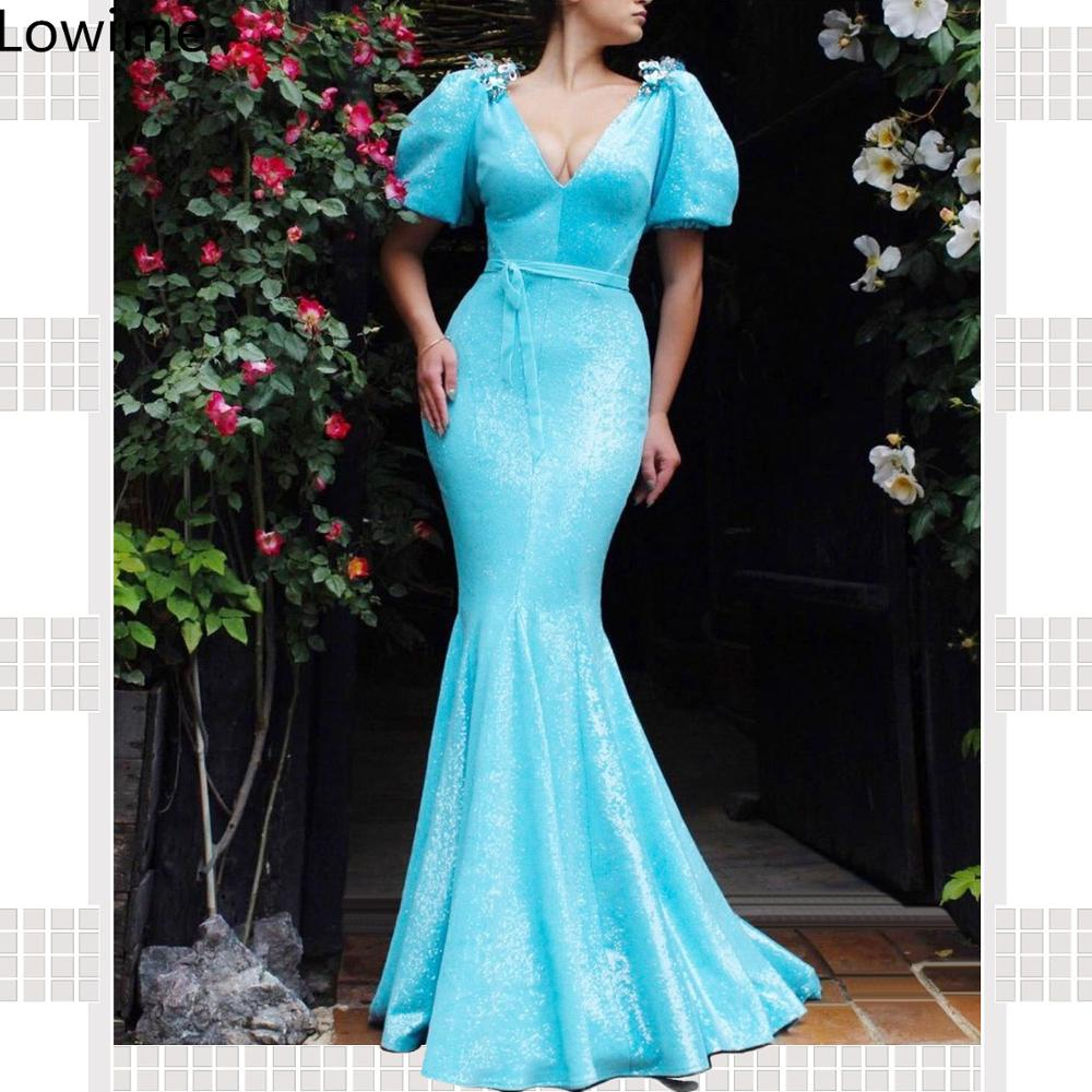 Elegant Sky Blue Long Mermaid Sequin Prom Dresses 2019 V-Neck Kaftan Couture Sexy Evening Party Dress With Sashes Vestidos
