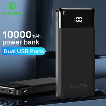 FLOVEME Power Bank 10000mAh przenośny telefon zewnętrzna ładowarka podwójna ładowarka USB Powerbank dla iPhone Xiaomi PoverBank tanie i dobre opinie Bateria litowo-polimerowa Rok wybudowania kable Cyfrowy wyświetlacz Podwójny USB Micro Usb Do smartfona Z tworzywa sztucznego