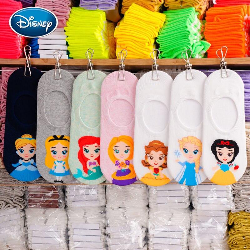 Disney Short Stocks Cartoon Silicone Strip Slip Women's Socks Disney Princess Shallow Mouth Invisible Thin Cotton Socks 1Pair